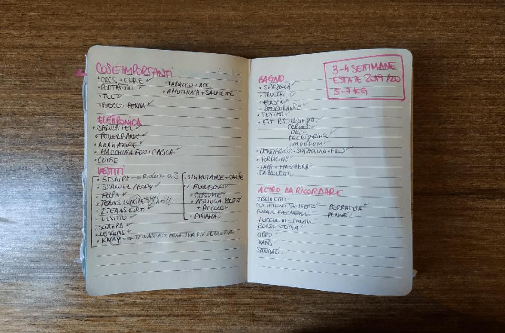Lista per viaggio zaino in spalla